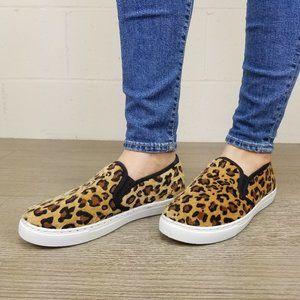 Slip On Leopard Print Furry Sneakers